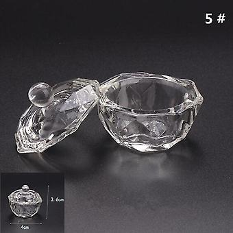 Crystal Glass Dappen Dish Lid Bowl Cup Holder Manicure Equipment Nail Tool