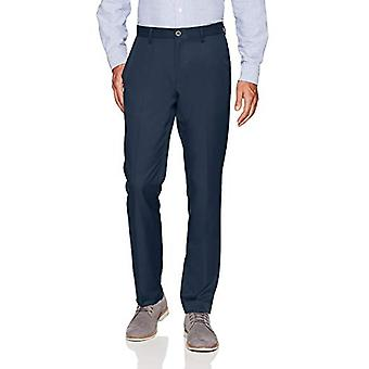 Essentials Men's Slim-Fit Flat-Front Dress Pants, Navy, 32W x 30L