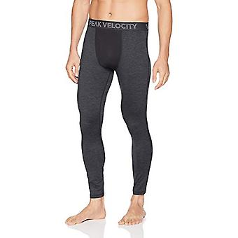 Peak Velocity Men's Thermal Cold-weather Athletic-Fit Tight, Black Heather, Large