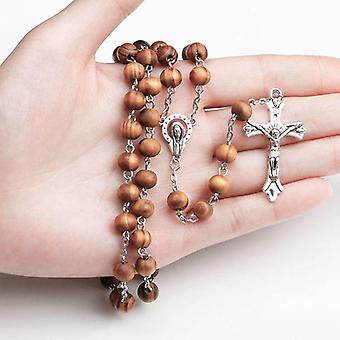 Handmade Round Bead Catholic Rosary Cross Religious Wood Beads Necklace