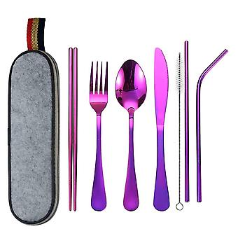 Travel cutlery, 8 Parts - Purple