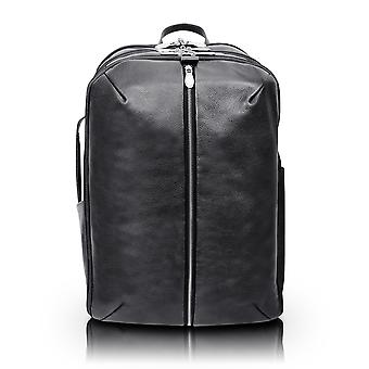 """18895, U Series, Englewood 17"""" Leather, Triple Compartment, Carry-All, Laptop & Tablet Weekend Backpack - Black"""