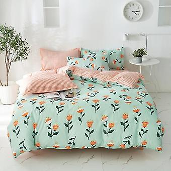 Nordic Simple Floral Plaid Bed Duvet Cover Set