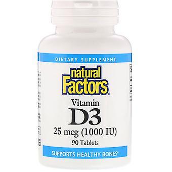 Natural Factors, Vitamin D3, 25 mcg (1,000 IU), 90 Tablets