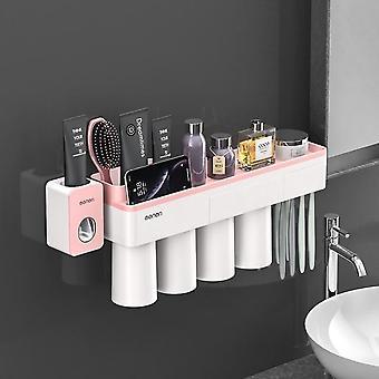 Zubní pasta Squeezer Dávkovač Skladování Police Set pro koupelny magnetická adsorpce s šálkem držáku zubního kartáčku koupelnové doplňky