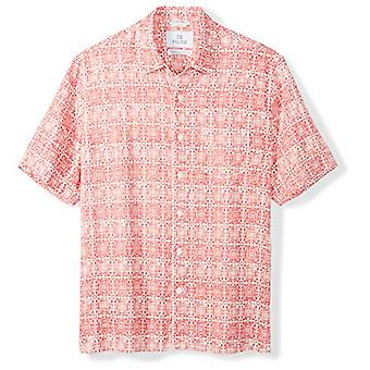 28 Palms Men's Relaxed-Fit 100% Linen Reverse Print Shirt, Washed Coral Tile,...
