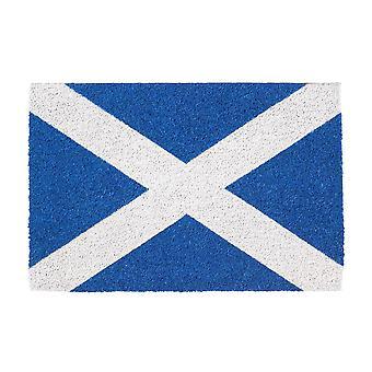 Nicola Spring 2 Piece Non-Slip Door Mat Set - Natural Coir Indoor Outdoor Welcome Mats - 60 x 40cm - Scotland Flag