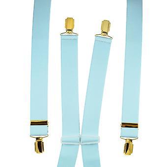 Ties Planet Plain Sky Blue Men's Trouser Braces - Clip d'oro