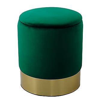 Charles Bentley Round Velvet Storage Dressing Table Stool Footstool Pouffe/Ottoman with Gold Base Forest Green