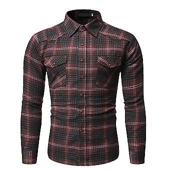 YANGFAN Mens Casual Plaid Lapel Long Sleeve Shirt