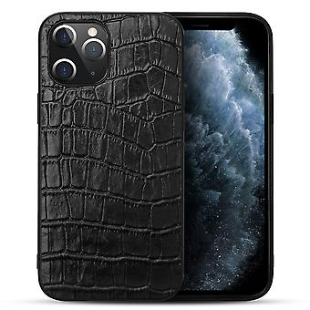 For iPhone 12 Pro/12 Case Genuine Leather Crocodile Texture Cover Black