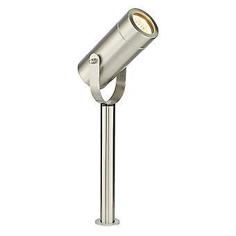 Plein air 310Mm Spike IP44 7W En acier inoxydable brossé & Verre transparent