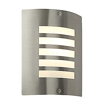 Saxby Lighting Bianco - Outdoor Wall Lamp IP44 60W Geborsteld roestvrij staal en opaal 1 Licht Dimbare IP44 - E27