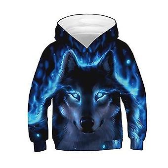 3d Wolf Print Bluza bluza bluza dla chłopców - Wiosna Jesień Odzież wierzchnia