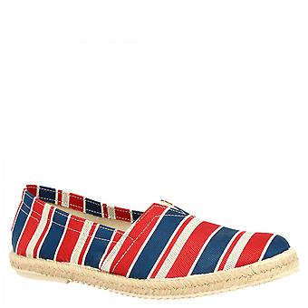 Leonardo Shoes Men's handmade round toe striped espadrilles in red blue and white napa leather