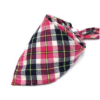 Dog Bandanas Large Scarf For Dog Cotton Plaid Washable Bow Ties Collar