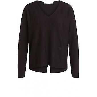 Oui Black V Neck Jumper