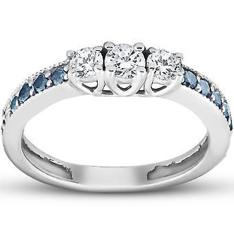 1/2 Ct Blue & White Diamond Three Stone Engagement Anniversary Ring White Gold