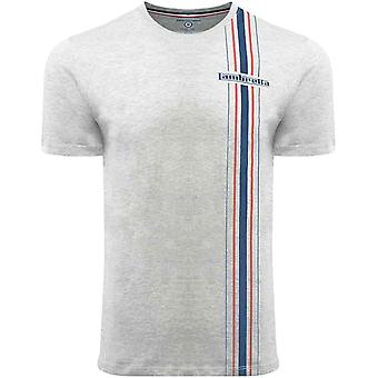 Lambretta Mens Side Stripe Crew Neck Retro Cotton T-Shirt Top Tee - Grey Marl