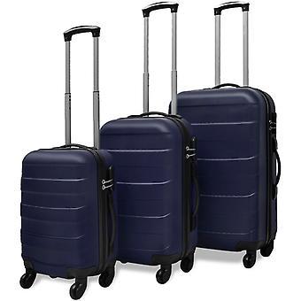 3-pcs. Hard Shell Travel Case Set Trolley Blue