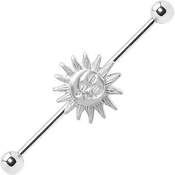 Industrielle Langhantel Sonnenmond Charme 14ga Knorpel 316l chirurgischen Stahl + extra bar