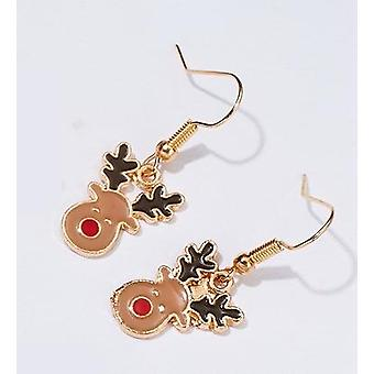 Beautiful funny earrings pure Christmas rudolf with red overcast