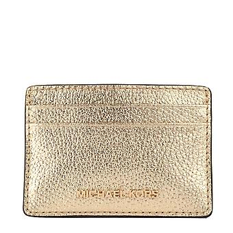 MICHAEL Michael Kors Metallic Pebbled Leather Card Holder Pale Gold
