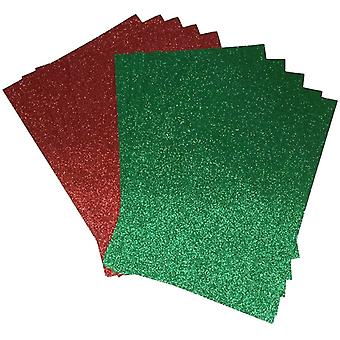 Red and Green Glitter Paper Soft Touch Non Shed 150gsm Pack of 10 Sheets