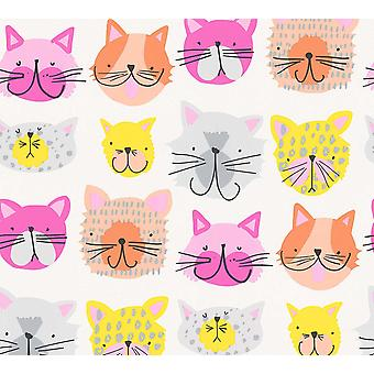 AS Creation Colourful Cat Wallpaper Textured Paste The Wall Covering Kittens