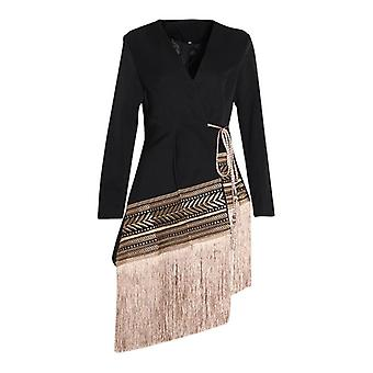 Loose Fit Spliced Contrast Color, Tassel Belt Jacket, V-neck Long Sleeve, Women