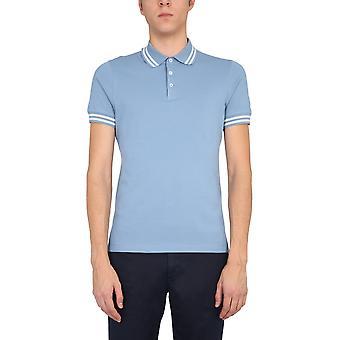 Brunello Cucinelli M0t638125cs923 Hombres's camisa polo de algodón azul claro