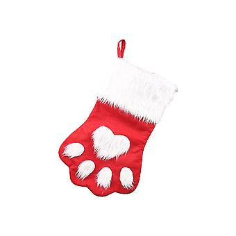 2 Pcs Christmas Stocking for Pet Dog Paw Santa Stocking for Gift Candy Bags