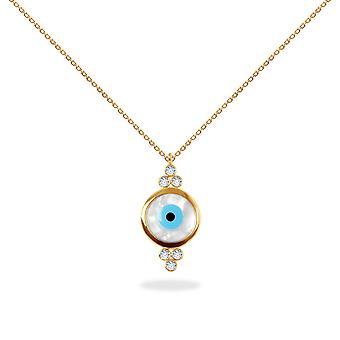 قلادة عيني الماس الشر العين، 18K الذهب - الذهب الأصفر