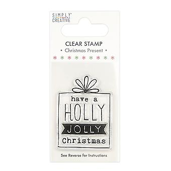 Simply Creative Christmas Present Clear Stamp Holly Jolly