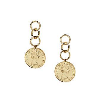 Coin Stopper- 18kt Gold Plated Earrings