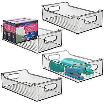 mDesign Set of 4 Plastic Storage Bin with Integrated Handles – Home Office Storage