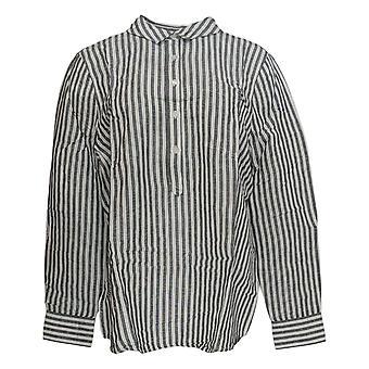 Rachel Hollis Ltd Women's Top Woven Henley Shirt White A354055