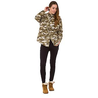 Loose Camouflage Blouse Long Sleeve Shirt Blouse - Green