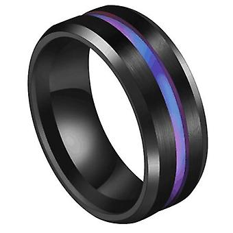 Trendy Stainless Steel Groove Ring, Wedding Bands, Rainbow Rings, Male Jewelry