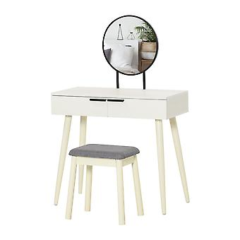 HOMCOM Dressing Table Vanity Set Makeup Desk with Round Mirror Cushioned Stool 2 Drawers for Bedroom Jewelry Storage Set, White
