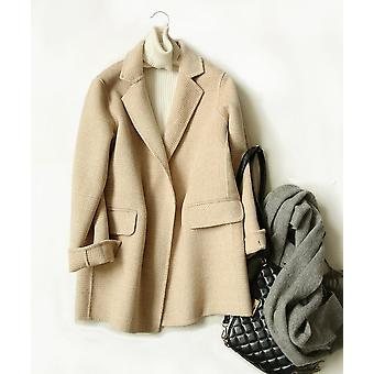 Women Hand-stitched Wool Double-sided Plush Plaid Casual Coat