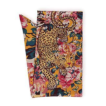 Powder Leopard Floral Satin Neck Scarf