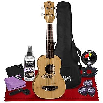 Luna 4-string ukulele (bamboo) with mahogany neck, walnut fretboard, satin finish, accessories bundle with care kit & tuner perfect for musicians