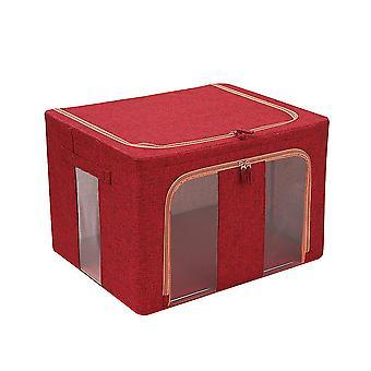 Cotton and linen double vertical window folding steel frame quilt storage box 50x40x33cm