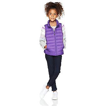 Essentials Big Girls' Lightweight Water-Resistant Packable Puffer Vest, Dark Purple, Large