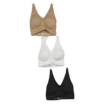 Rhonda Shear 3-pack Seamless Adjustable Strap Ahh Bra Beige 737165