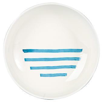 Blue Stripe Pasta Bowl Patterned Porcelain Salad Serving Dishes 21cm