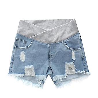 Pregnant Women's Low-waisted Denim Shorts, Loose Pants