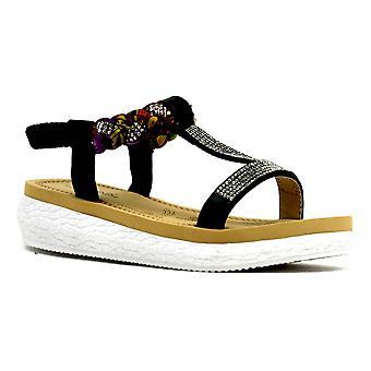 Girl's Colourful Open Toe Summer Sandal Black