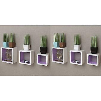 vidaXL الجدار رفوف الجرف مكعب 6 أجهزة الكمبيوتر الشخصية. الأبيض والأرجواني